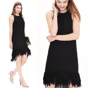 NWOT! Banana Republic Black Fringe Hem Dress